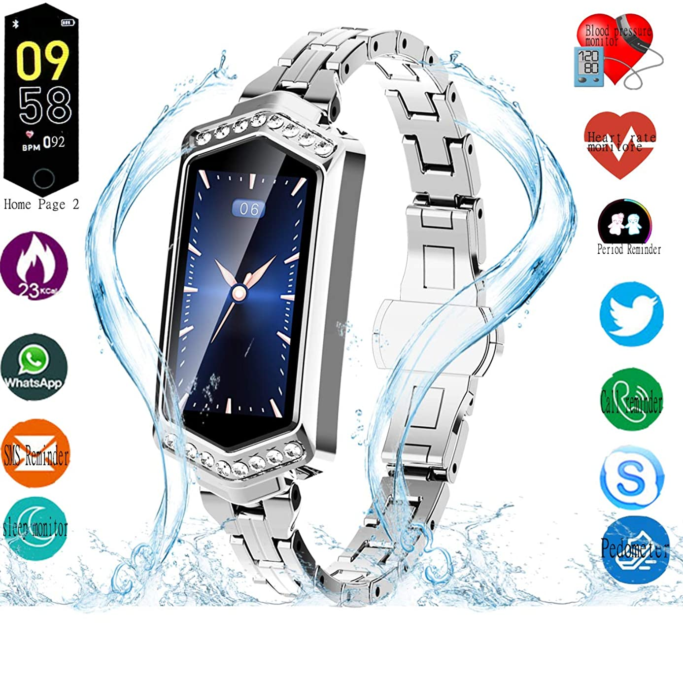 Smart Watch, Fitness Tracker with Heart Rate & Blood Pressure & Sleep monitor for Android & IOS, IP67, Activity Tracker Watch with Calorie Counter & Pedometer, Smart Watch Wristband for Women Girls