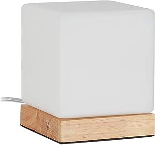 Relaxdays Lampe de table, E 14, pied en bois et verre blanc opale, design scandinave, HlP: 15x12x12 cm, de chevet.