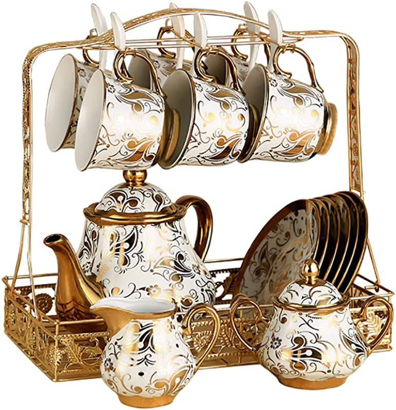 HAYC 15 Pieces Of European Ceramic Tea Set Bone China Tea Cup Tea Set Porcelain Cup Adult Tea Set With Metal Bracket Gold