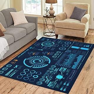 Pinbeam Area Rug Panel Futuristic Virtual Touch User Interface Target Control Home Decor Floor Rug 3' x 5' Carpet
