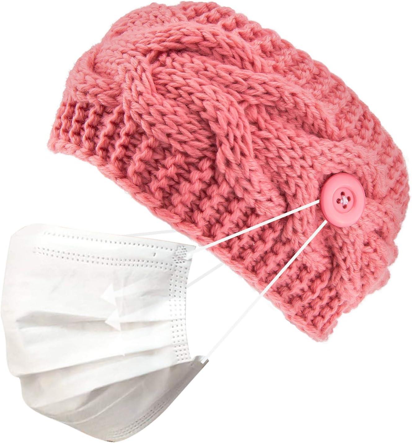 TOYMIS Warm Winter Button Headband for Mask Women Yarn Crochet Knit Turban Ear Warmer Head Wrap Gift (Pink)
