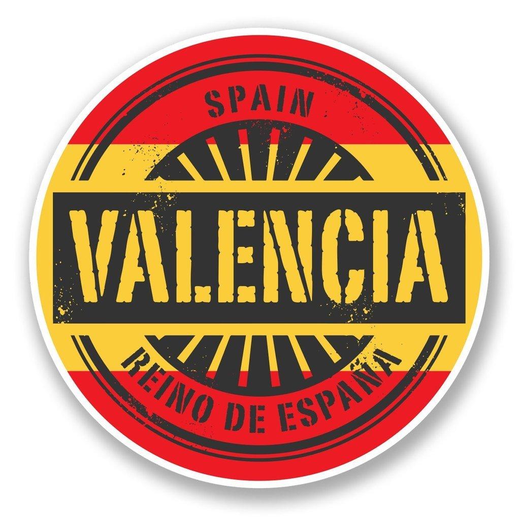 2 x 10cm/100 mm Valencia España Etiqueta autoadhesiva de vinilo adhesivo portátil de viaje equipaje signo coche divertido #6015: Amazon.es: Coche y moto