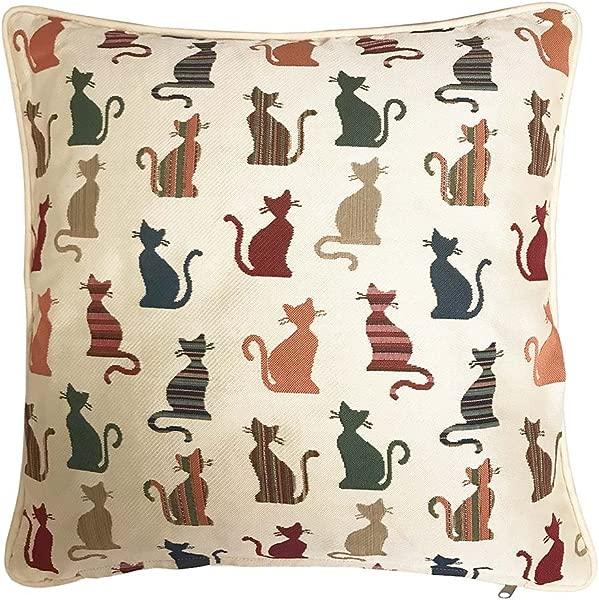 Signare Tapestry 双面方形抱枕套 18X18 45厘米 X 45厘米无填充厚脸猫设计