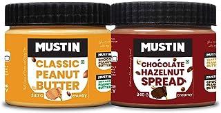 Mustin Chocolate Hazelnut Spread(340g), Classic Peanut Butter Chunky(340g)