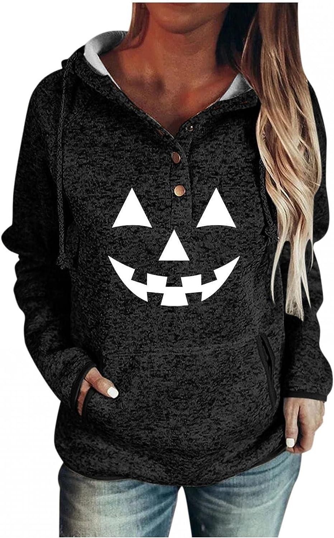 Hoodies for Women Pullover Warm Drawstring Button Sweatshirts Lightweight Pumpkin Printed Pocket Long Sleeve Sweaters