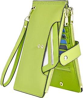Wallets for Women RFID Blocking Large Capacity- Leather Bifold Wallet Women Long Credit Card Wallet Wristlet for Women Sli...