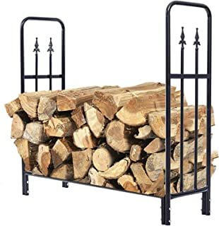 Wood Cradle 4ft Firewood Rack, Outdoor Log Rack Holder Metal Tubular Wood Stacker for Kindling Logs, Fireplace Outside Acc...