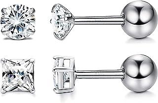 Milacolato 2 par de Plata de Ley 925 CZ Stud Pendiente para Mujer Tornillo Barbell Tragus Helix Cartilage Earring Set 3-6mm