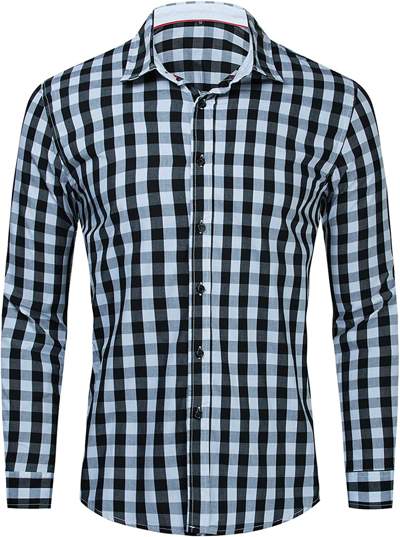 Men's Plaid Shirts Long-Sleeved Cotton Comfort Lapel Button Down T Shirt Tops Mens Standard-Fit Shirt Blouse