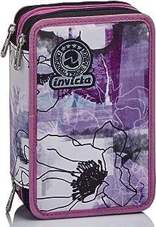 Astuccio 3 Scomparti Invicta , Paint & Flowers, Rosa, Completo di matite, penne, pennarelli…