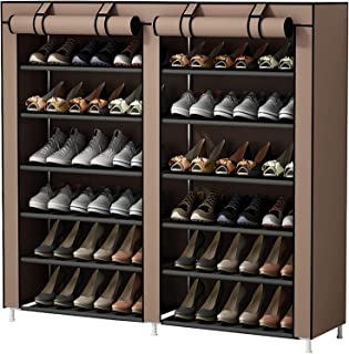 Mumoo Bear Fabric Cabinet Closet Storage Organizer Shoes Rack, 7 Tier 12 Lattices with Cover, Double Door, Brown