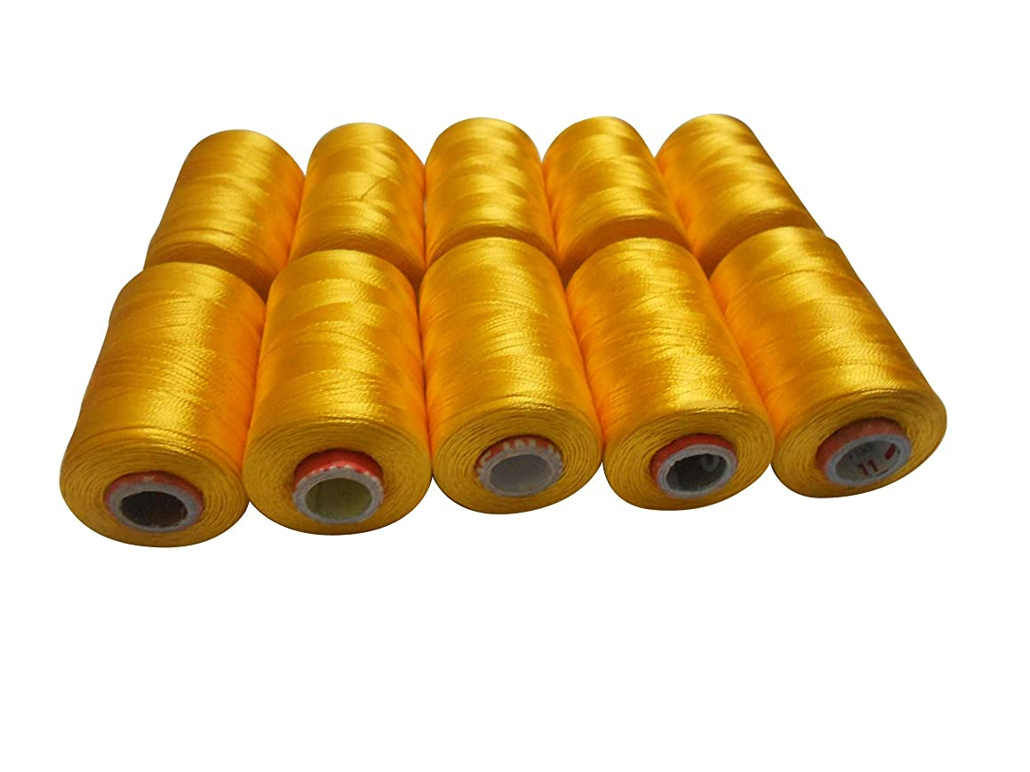 Goelx Silk Thread Shiny and Soft Thread Beading Thread for Jewelry Making-Tassel Making- Embroidery. 10 Popular Yellow Jewelry Making -Embroidery Threads Included.