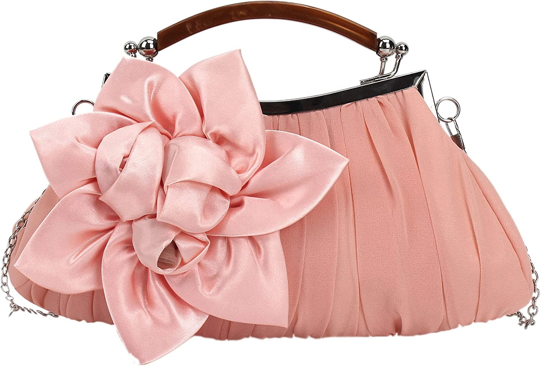 Women Silk Flowers Wedding Evening Bags Clutch Elegance Party Purse Chain Crossbody Bag