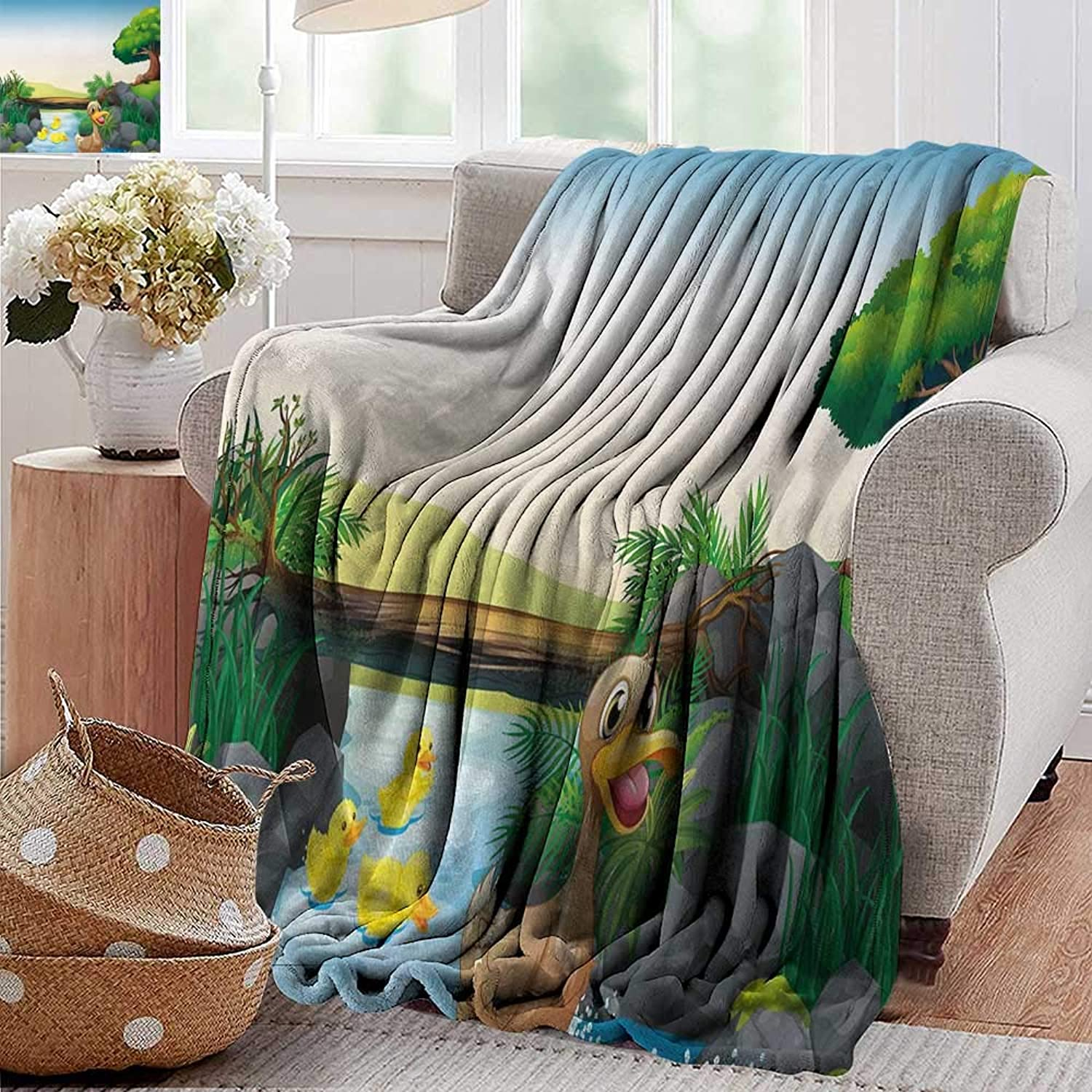 PearlRolan Cool Blanket,Rubber Duck,Cartoon Mother and Ducklings River Kids Fun Farm Animals Print Outdoor Feathers,Multicolor,for Bed & Couch Sofa Easy Care 35 x60