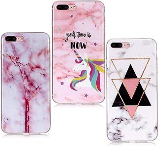 comprar comparacion YKTO Funda para iPhone 7 Plus 2016/8 Plus 2017 5.5 Pulgadas 3 Pack Mármol 3D Premium Dibujos Contraportada Suave TPU Gel...