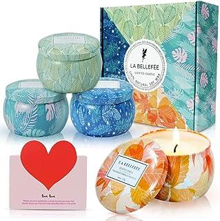 LA BELLEFÉE Aromatheraphy Candle Gift Set Roof Garden, Pumpkin Carriage, White Tea, Winter Cedarwood