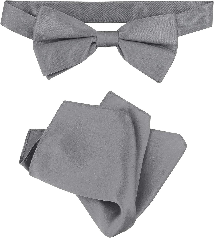 Biagio 100% Silk BowTie Solid Charcoal Grey Color Mens Bow Tie & Handkerchief