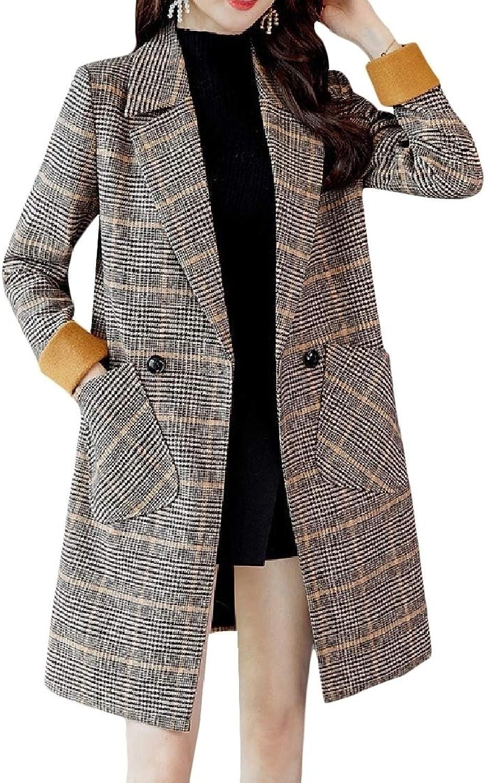 color&W Womens TurnDown Collar Plaid Single Button Parka Outwear Cardigan