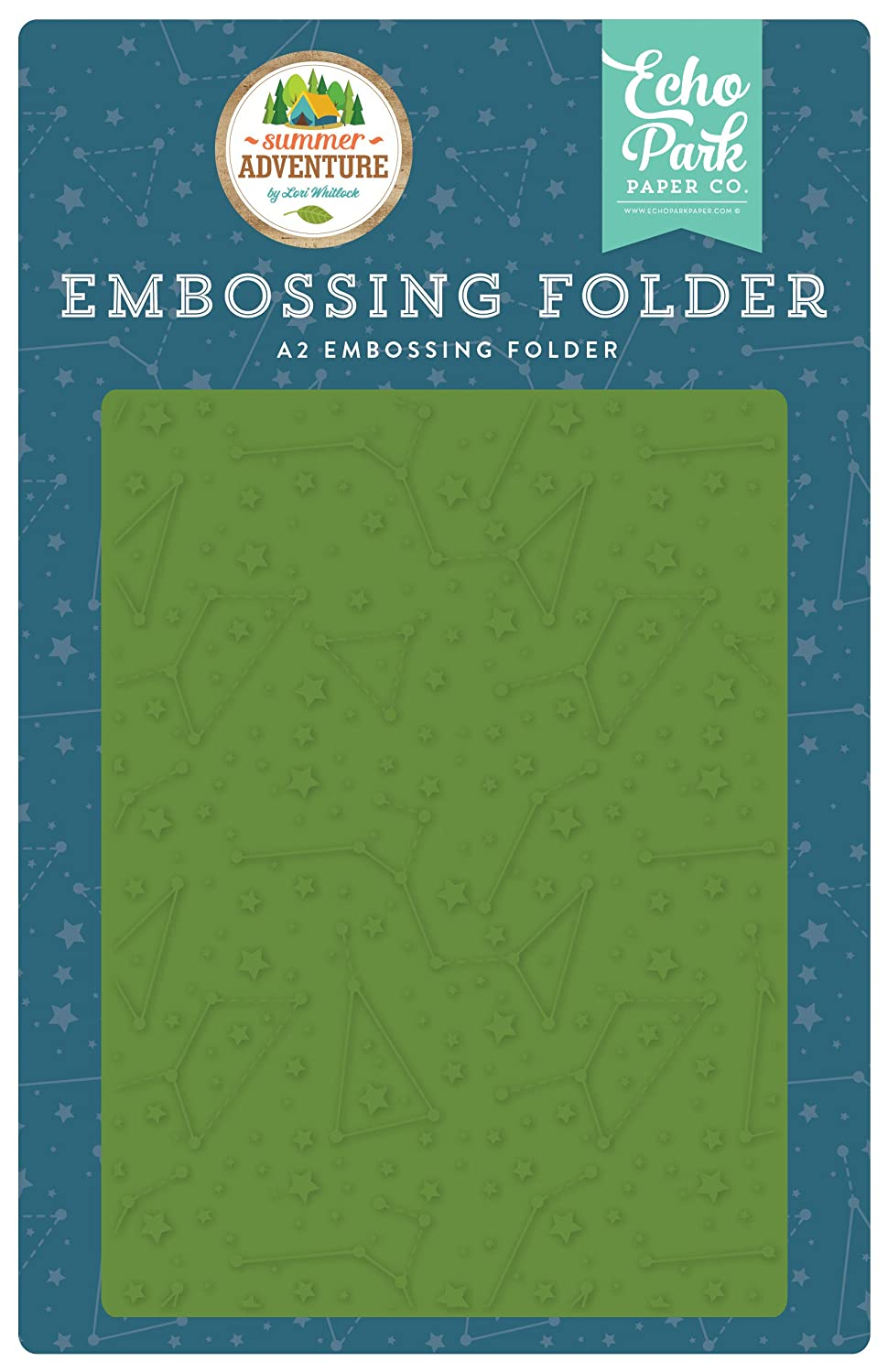 Echo Park Paper Company SA180031 Constellations Embossing Folder Teal, Brown, red, Navy, Green, Orange