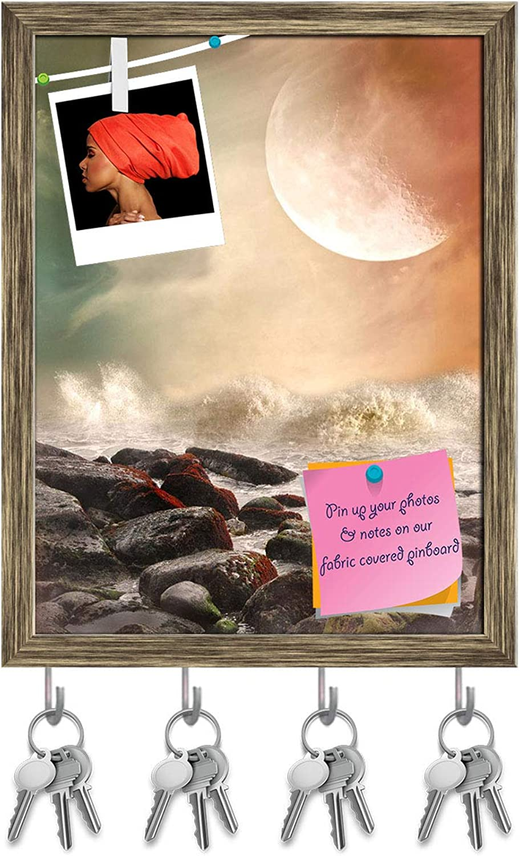 Artzfolio Fantasy Landscape in The Ocean with Rocks Key Holder Hooks   Notice Pin Board   Antique golden Frame 12 X 15.7Inch