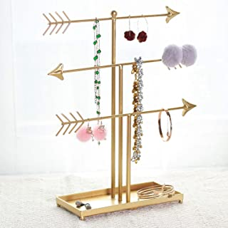 GRIDYTOP 3 Tier Arrow Jewelry Accessories Organizer, Metal Jewelry Display Stand, Decorative T-bar Jewelry Holder for Necklace, Earring, Bracelet, Watch, Gold