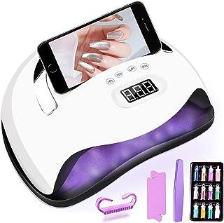 Lámpara LED UV Uñas,Secador de Uñas 168W Lámpara Led Uñas, portátil y puede poner teléfono celular,con Sensor Automático y Pantalla LCD para Manicura/Pedicure Nail Art en el Hogar y el Salón