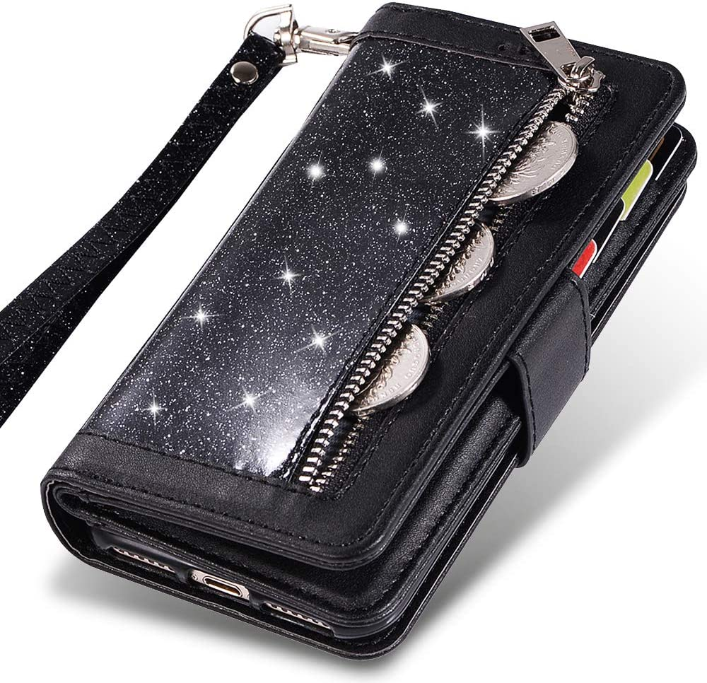 iPhone 11 Wallet Case for Women/Men,Kudex Glitter Sparkle 9 Card Holder PU Leather Book Design Kickstand Magnetic Closure Protective Zipper Purse Case w/Wrist Strap for iPhone 11 6.1inch 2019 (Black)