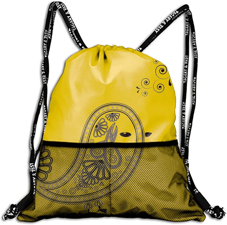 9d1c5469544e Unisex Bird Design Elements Drawstring Rucksack Shoulder Bags Gym ...