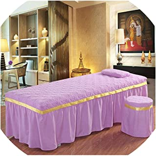Polyester/Cotton Jacquard Beauty Salon Bedspread 1Pcs Parlour Spa Bedding Kit Fitted Bed Bedspread,Lavender