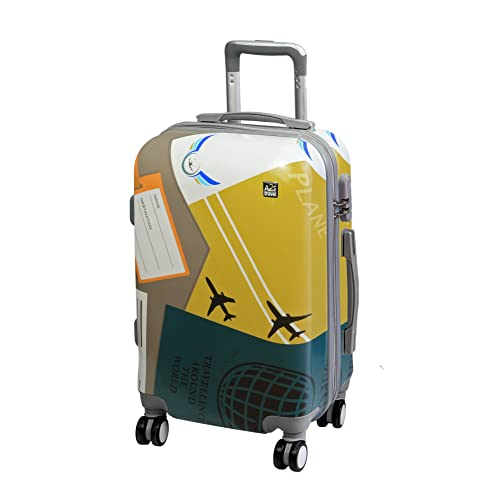 La Valise Bagages à Main A2S, avec de revêtement Dur, est légère et Durable. avec 8 Roues tournantes, Avion, Imprimée, Ses Dimensions sont 55cmx35cmx22cm. (Avions)