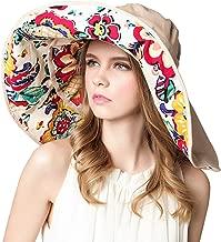 LASSZONE Detachable Wide Brim Bucket Hat Foldable Summer Beach Sun Hats Double Large Brims UPF 50+ UV Protection Sun Visor Caps for Women