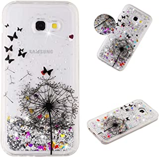 MEIKONST Galaxy A5 2017 case, Clear Soft TPU Stylish Design with Hearts Glitter Bling Quicksand Shiny Flowing Liquid Case ...