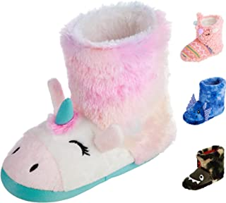 totes Girls Boys Kids Warm Soft Lightweight Washable Toddler Child Boot Slipper with Cute Animal design, Non-Slip Rubber Sole