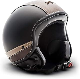 "SOXON SP-301 Urban ""Black""  Jet-Helm  Motorrad-Helm Roller-Helm Scooter-Helm Moped Mofa-Helm Chopper Retro Vespa Vintage Pilot Biker  ECE 22.05 Leather-Design Schnellverschluss Tasche L 59-60cm"