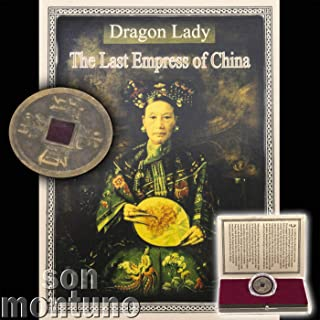DRAGON LADY - Last Empress of China - Antique Brass Chinese Qing Dynasty Cash Coin in Clear Box with Certificate of Authenticity