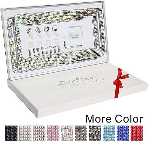 Runone Rhinestone License Plate Frame Bling Car Accessories For Women,Funny Glitter Stainless Steel Cover 1000+ Luxur...