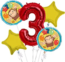 Curious George Balloon Bouquet 3rd Birthday 5 pcs - Party Supplies