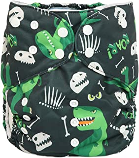 2 to 7 Years Old Junior Big Cloth Diaper Pocket Reusable Washable Baby Toddler (Green Dinosaurs)