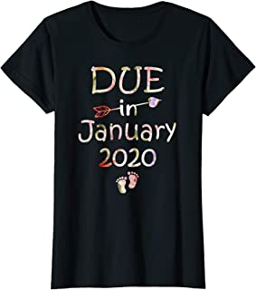 Womens Womens Pregnancy Announcement Shirt Due Date January See You