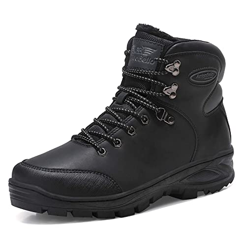 8b0b7a299ed AX BOXING Mens Snow Boots Winter Warm Ankle Boots Fully Fur Lined Anti-Slip  Boots