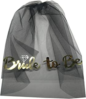 MOAMG Black Bachelorette Party Veil cute Bride To Be Printed Veil Bridal Shower Accessories Engagement Decoration Supplies wedding Gift