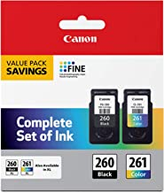 Canon PG-260 / CL-261 Value Pack, Compatible to TR7020, TS6420, and TS5320 Printers, Multi, Once Size