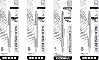 Zebra 29411 F-701 Ballpoint Stainless Steel Retractable Pen, Fine Point, 0.8mm, Black Ink 4 Pack (4-Count) Black ZEB29411