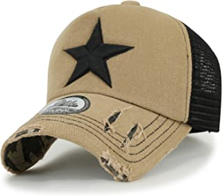 ililily Star Embroidery Black White Trucker Hat Cotton Baseball Cap