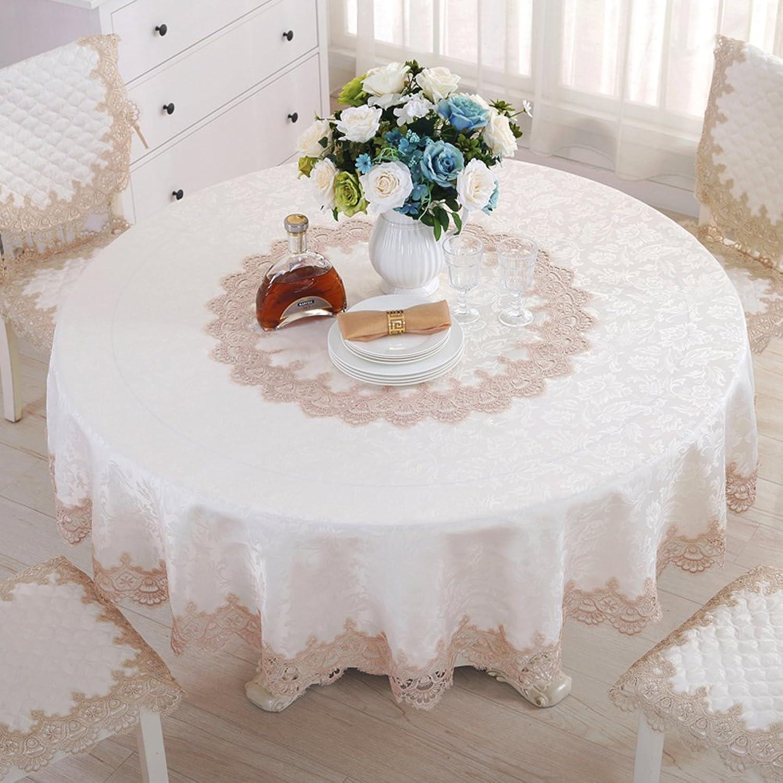 JFFFFWI SeuleHommest 5118 Nordique Dentelle Florale Table Tissu Ronde Nappe Table Serviette Coussin Chaise Ensemble-A diamètre200cm(79inch)