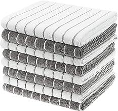 حوله های ظرف مخصوص میکروفیبر Gryeer - 8 بسته (رنگ های خاکستری و سفیدی طراحی شده با نوار) - حوله های آشپزخانه نرم ، سوپر جاذب و بدون حاشیه ، 26 18 18 اینچ