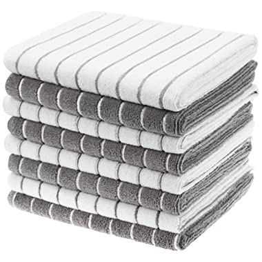 Gryeer Microfiber Kitchen Towels, Stripe Designed, Soft and Super Absorbent Dish Towels, Pack of 8, 26 x 18 Inch, Gray and White