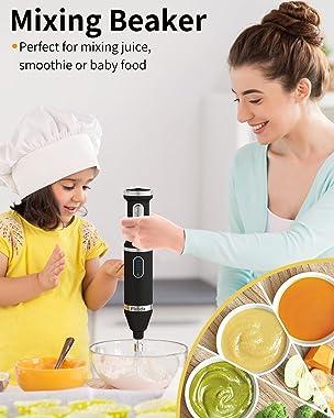 Cordless Hand Blender, Immersion Multi-Functional Blender 4-In-1 Variable Speed Rechargeable with Beaker Food Chopper Whisk B