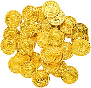 TOYANDONA 100pcs Plastic Gold Coins Pirate Toys Gold Treasure Coin Novelty Fun Play Money Coins for Kids Pirate Game Party...