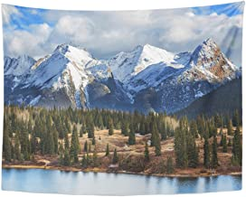 TOMPOP Tapestry Beautiful Mountain Landscape in Colorado Rocky United States Winter Home Decor Wall Hanging for Living Room Bedroom Dorm 60x80 Inches